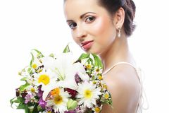 Young beautiful woman with bouquet, Happy day. stock image
