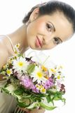 Young beautiful woman with bouquet, Happy day. royalty free stock photography