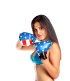 Young beautiful woman boxing Stock Photo