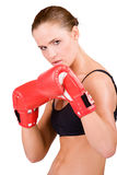 Young beautiful woman in boxing gloves Royalty Free Stock Images