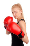 Young beautiful woman with boxing gloves Royalty Free Stock Image
