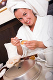 Young beautiful woman with breakfast in bed Royalty Free Stock Photo