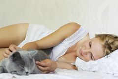 Young beautiful woman with british cat on the bed Royalty Free Stock Image