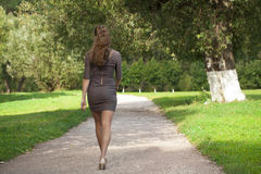Young beautiful woman in brown dress walks in the summer park Royalty Free Stock Photography