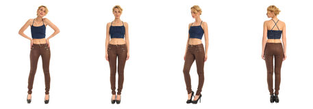 Young and beautiful woman in brown leather pants isolated Royalty Free Stock Image