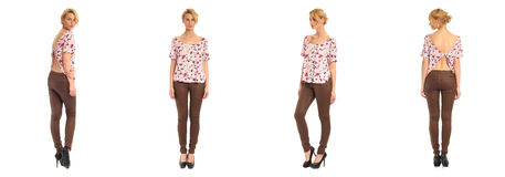 Young and beautiful woman in brown leather pants isolated Stock Photos