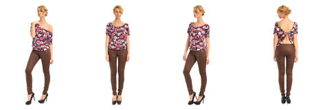 Young and beautiful woman in brown leather pants isolated Stock Image