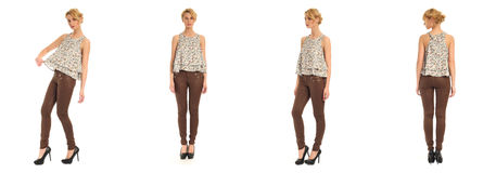 Young and beautiful woman in brown leather pants isolated Stock Images