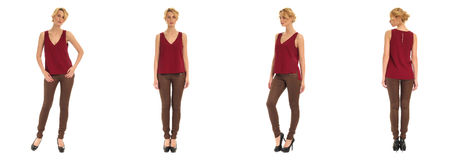 Young and beautiful woman in brown leather pants isolated Royalty Free Stock Images