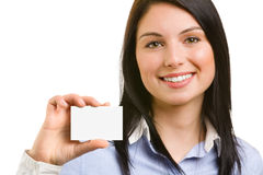 Young beautiful Woman with business card. Isolated on white background Royalty Free Stock Image