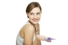 Young beautiful woman with butterfly Stock Photo