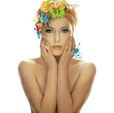 Young beautiful woman with butterfly Stock Photography