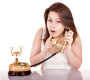 Young beautiful woman calling by phone. Royalty Free Stock Photos