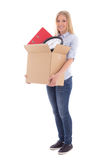 Young beautiful woman with cardboard box ready for moving day is Royalty Free Stock Images
