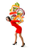 Young beautiful woman carries sushi Royalty Free Stock Photography
