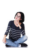 Young beautiful woman in casual clothes. Thinking, isolated on white Royalty Free Stock Photography