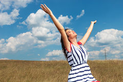 Young beautiful woman celebrating freedom Stock Images