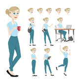 Young and beautiful woman character in many pose stock illustration