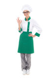 Young beautiful woman chef showing ok sign - full length isolate Stock Photos