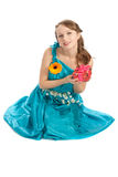 Young beautiful woman with a Christmas gift. Royalty Free Stock Images