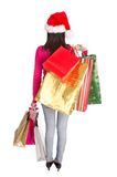 Young beautiful woman, Christmas shopping. Royalty Free Stock Photo