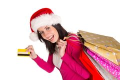 Young beautiful woman, Christmas shopping. Royalty Free Stock Image