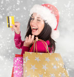 Young beautiful woman, Christmas shopping. Stock Images