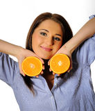 Young beautiful woman with citrus orange fruit Stock Photos