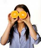 Young beautiful woman with citrus orange fruit Stock Image