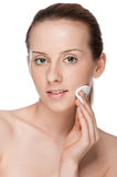 Young beautiful woman with clean sponge Stock Photography