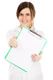 Young beautiful woman with a clear paper sheet Royalty Free Stock Image