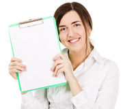 Young beautiful woman with a clear paper sheet Royalty Free Stock Photography