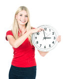 Young beautiful woman with the clock royalty free stock photography