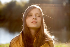Young beautiful woman with closed eyes Stock Photos