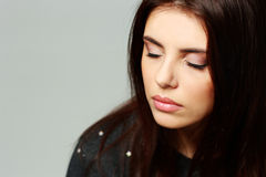 Young beautiful woman with closed eyes Royalty Free Stock Images