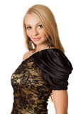 Young beautiful woman in cocktail dress. Young beautiful woman in cocktail dress over white background Royalty Free Stock Photography