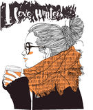 Young beautiful woman with coffee cup royalty free illustration