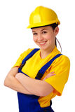 Young beautiful woman in construction uniform stock images