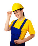 Young beautiful woman in construction uniform Royalty Free Stock Photography