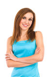 Young beautiful woman consultant smiling at camera. Royalty Free Stock Image