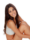 Young beautiful woman in cotton underwear Stock Images
