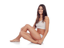 Young beautiful woman in cotton underwear Stock Image