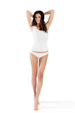Young beautiful woman in cotton underwear on white isolated Stock Photo