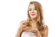 Young beautiful woman with a cup of tea Stock Images