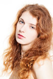 Young Beautiful Woman. Curly Hair, Natural Makeup Royalty Free Stock Photography