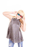 Young beautiful woman with 3d glasses, isolated on Stock Photography