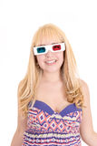 Young beautiful woman with 3d glasses, isolated on Royalty Free Stock Photography