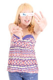 Young beautiful woman with 3d glasses Stock Image