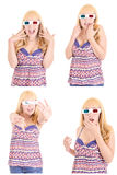 Young beautiful woman with 3d glasses set Royalty Free Stock Images