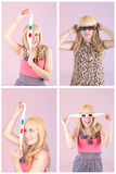 Young beautiful woman with 3d glasses set Stock Photo